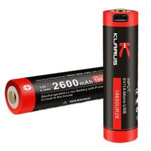 Batterie 2600 mAh rechargeable pour lampe Klarus