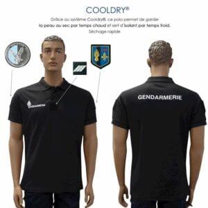 Polo Gendarmerie cooldry noir manches courtes Départementale- Patrol Equipement