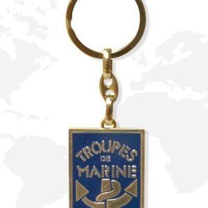 Porte clés métal troupes de marine double face