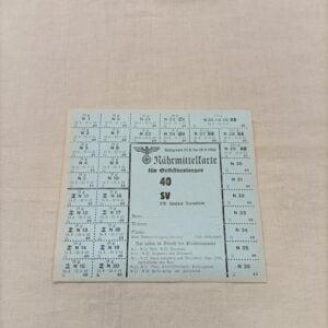 Ticket de rationnement Allemand ww2
