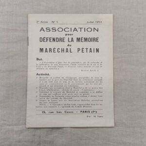 Livret association pour défendre la mémoire du Maréchal Pétain