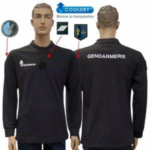 Polo Gendarmerie cooldry noir manches longues Départementale- Patrol Equipement