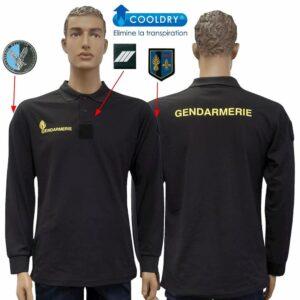 Polo Gendarmerie cooldry noir manches longues Mobile- Patrol Equipement